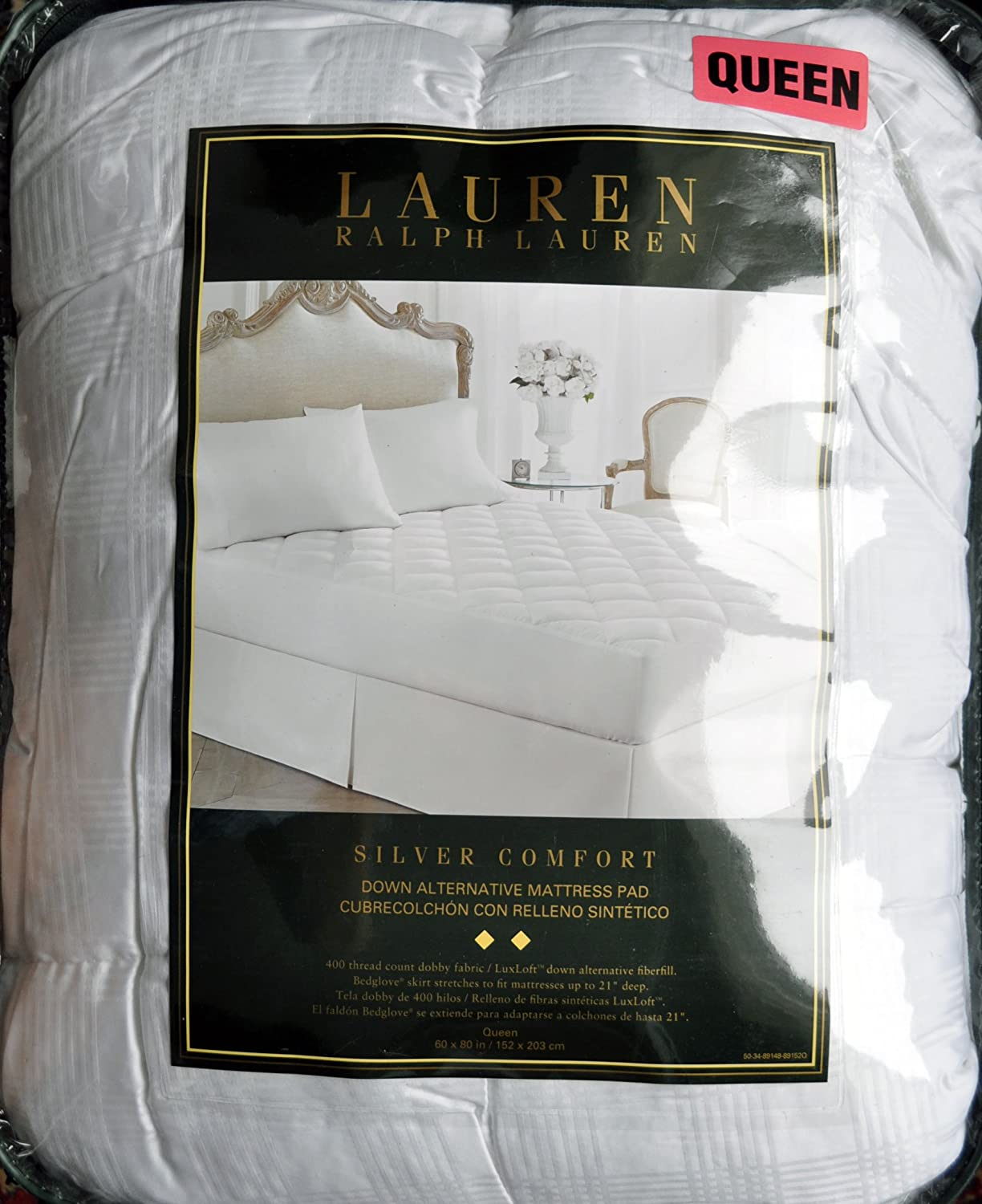 Amazon.com: Lauren Ralph Lauren Silver LuxLoft Comfort Down Alternative Mattress Pad Queen: Home & Kitchen