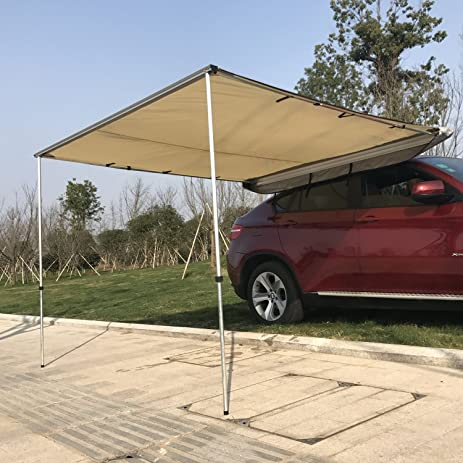 Outsunny Car Awning - Portable Folding Retractable Rooftop Sun Shade Shelter (Large) : folding shade tent - memphite.com