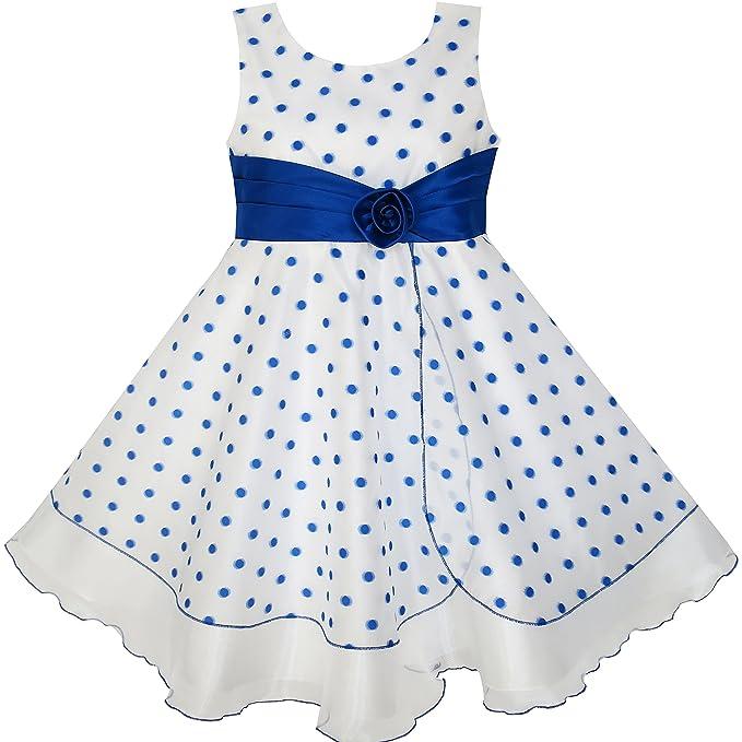HX52 Sunny Fashion - Vestido con estampado floral para niña azul 6 años