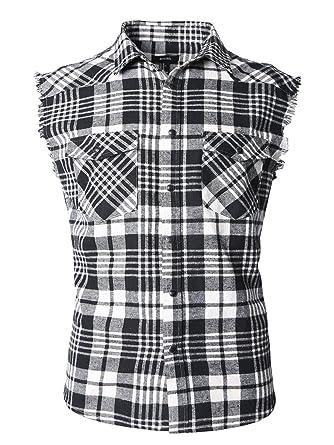 a4a2b6f6d34 Image Unavailable. Image not available for. Color  NUTEXROL Men s Casual Flannel  Plaid Shirt Sleeveless Cotton Plus Size Vest