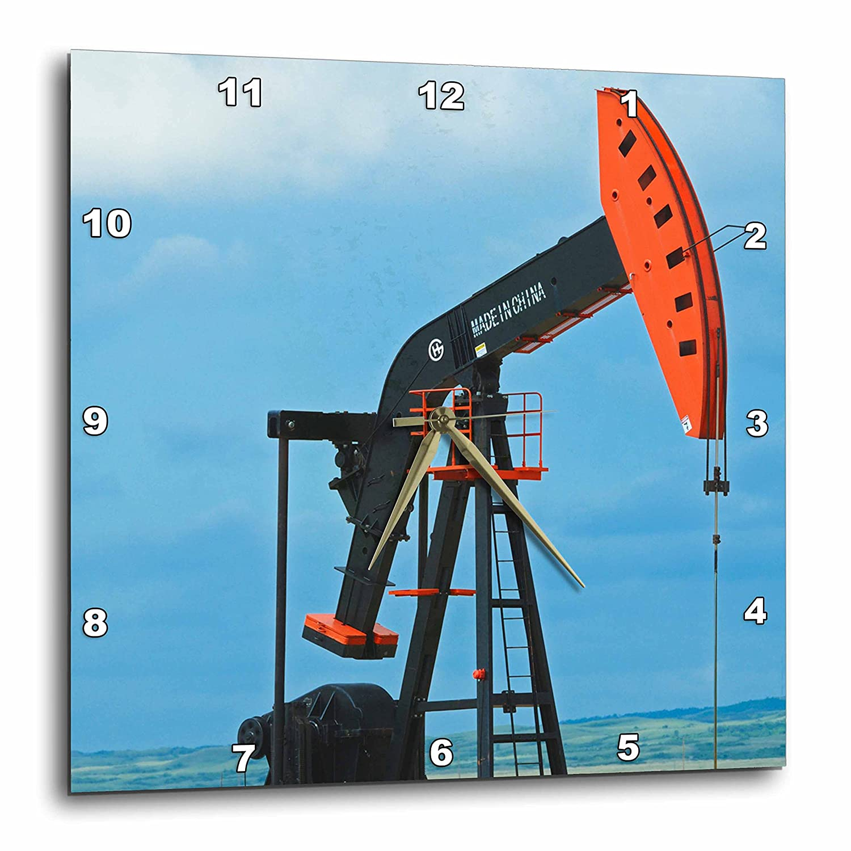 3dRose Canada 15 by 15 Carlyle Oil Well Pump in Field Wall Clock Saskatchewan