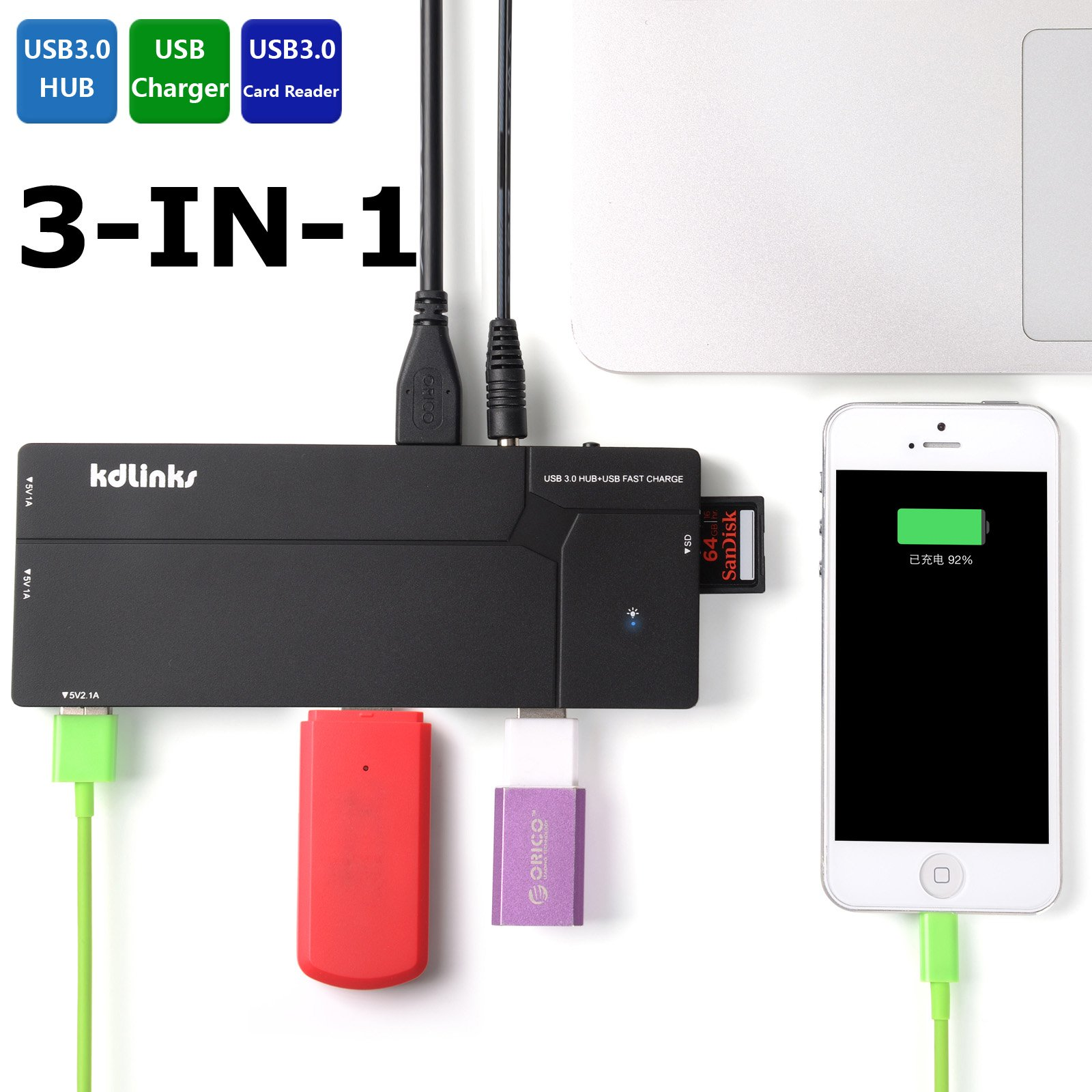 KDLINKS Ultra Slim Multi-Function 10 Ports USB 3.0 All In One Hub Station: 6 Ports USB 3.0 Hub, 3 USB Charger, 1 SD Card Reader (Backward Compatible with USB 2.0/1.1)