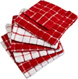 "DII Cotton Terry Windowpane Dish Cloths, 12 x 12"" Set of 6, Machine Washable and Ultra Absorbent Kitchen Bar Towels-Red"