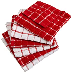 "DII Cotton Terry Windowpane Dish Cloths, 12 x 12"" Set of 6, Machine Washable and Ultra Absorbent Kitchen Dishcloth-Red"
