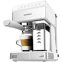 Cecotec Power Instant-ccino - Cafetera Semiautomatica, Touch Serie Bianca, Presión 20 Bares, Capacidad de 1,4l, 6…
