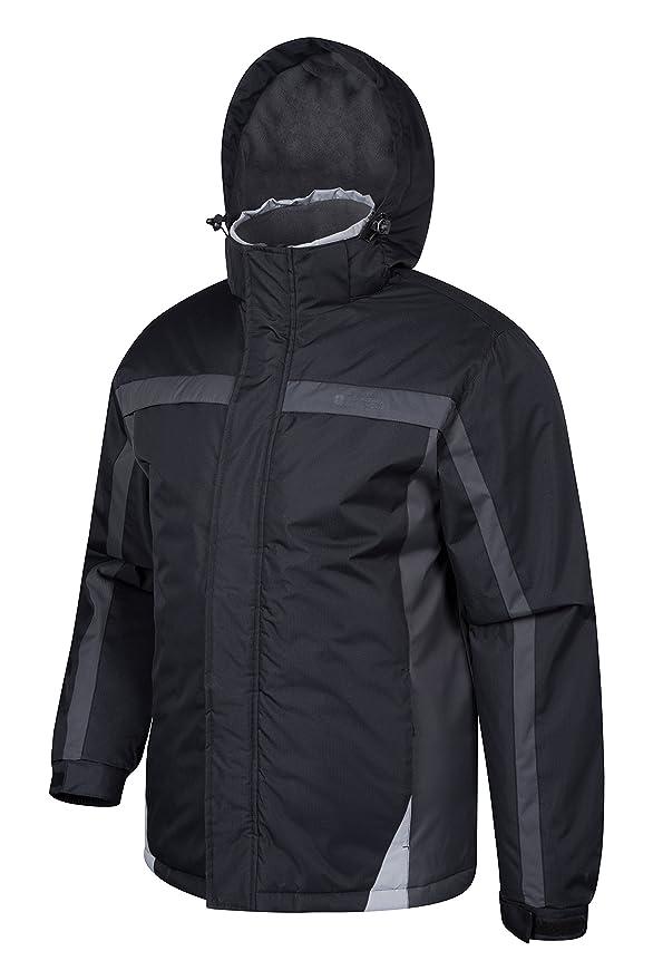 Mountain Warehouse Chaqueta de esquí Dusk para hombre - Chubasquero resistente al agua, forro de felpa, abrigo con faldón antinieve para hombre, ...