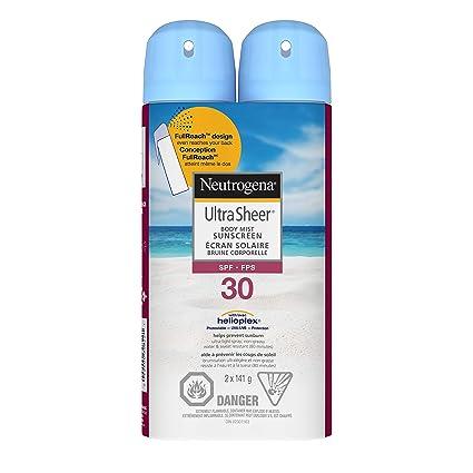 Neutrogena Sunscreen Spray SPF 30, Ultra Sheer Body Mist, Non