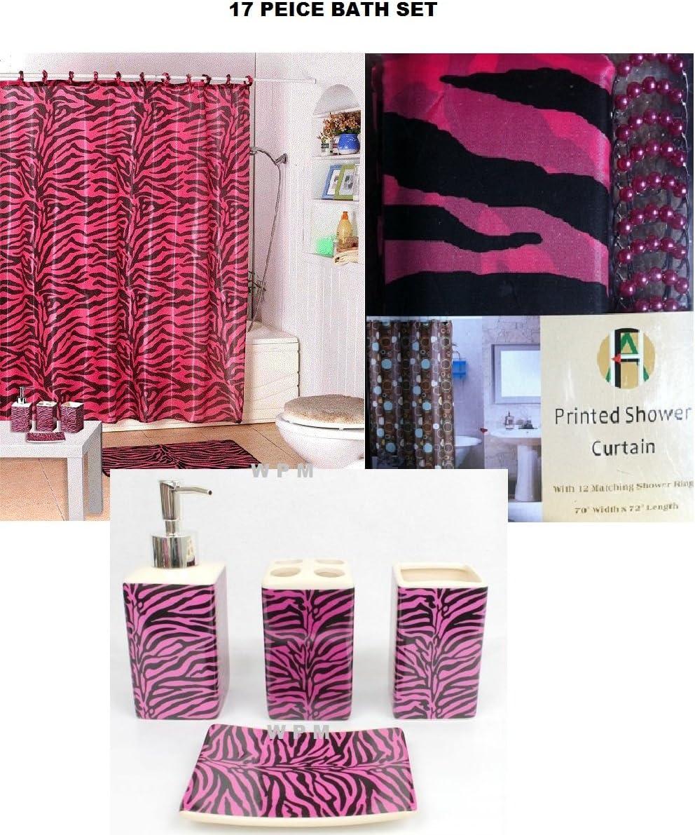 WPM 4 Piece Bath Accessory Set- Pink Zebra Shower Curtain with Decorative  Rings + Bathroom Accessories Set