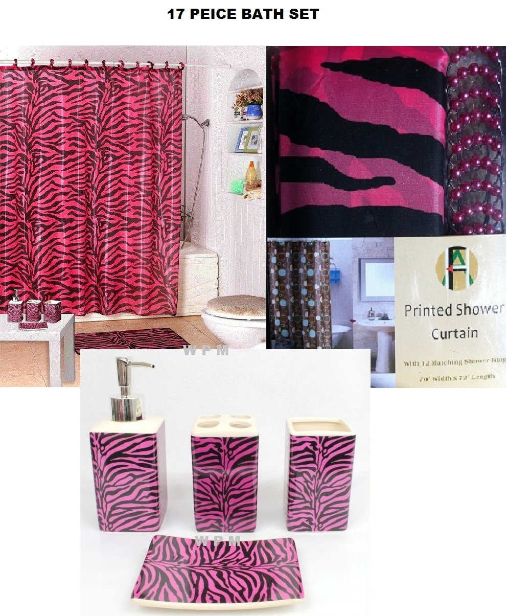 Amazon 17 piece bath accessory set pink zebra shower for Bathroom decor on amazon