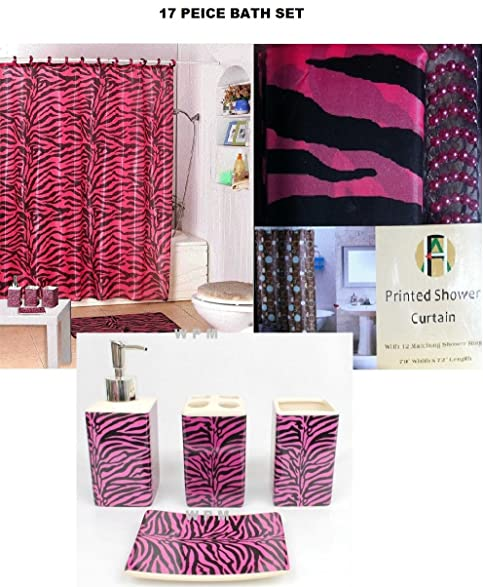 17 Piece Bath Accessory Set  Pink Zebra Shower Curtain With Decorative  Rings + Bathroom Accessories