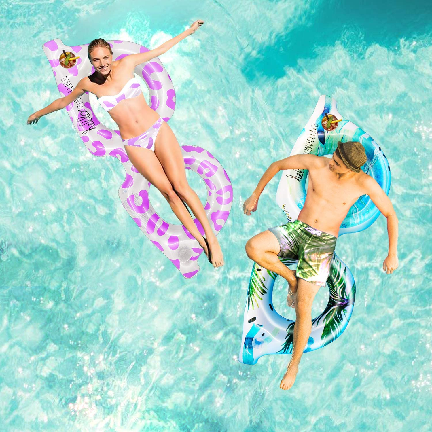 74 Giant Inflatable Pool Float for Adults Teen Sunglass Lounge Chair Funny Floats Pool Toys for Pool Summer Beach Lake Water Fun Party Supplies Couple Rings Raft with 2 Cup Holders Pink
