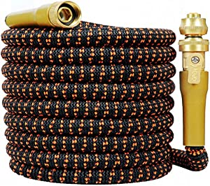 "HOPITU Upgraded 25 Feet Expandable Garden Hose, Strongest Expanding 3750D Hose,Super Flexible Water Hose with 3/4"" Solid Brass Nozzle and Durable 4-Layers Latex"