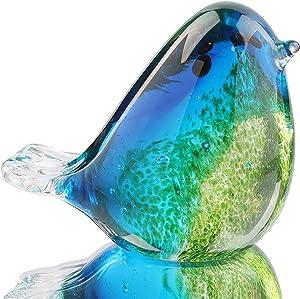 Hophen Art Glass Bird Figurine Handmade Blown Glass Paper Wight Mother`s Day Gift Home Ornament (#3)
