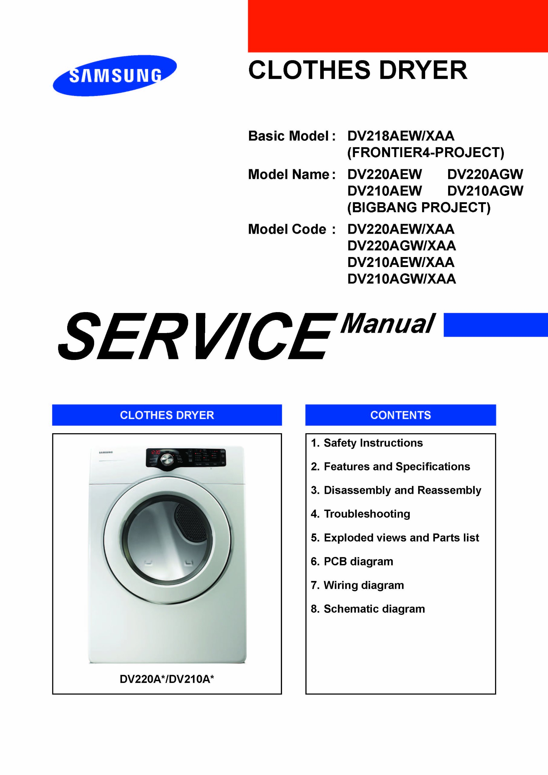 samsung dv220aew xaa and dv210aew xaa service manuals samsung rh amazon com Samsung DV210AEW XAA Heating Element Samsung Washer and Dryer