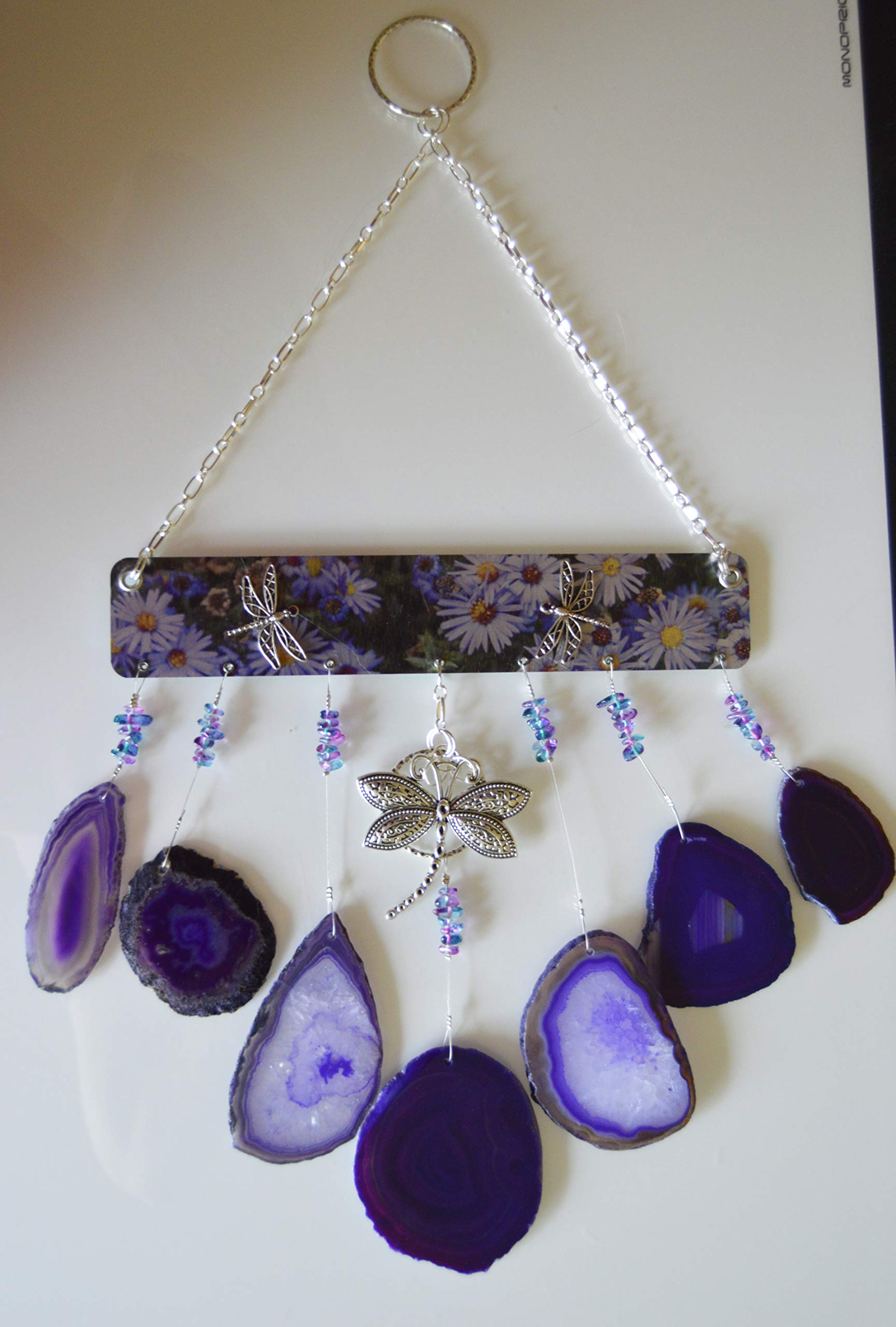 Agate slice geode wind chime windchime hanging wind chime mobile Dragonfly Purples