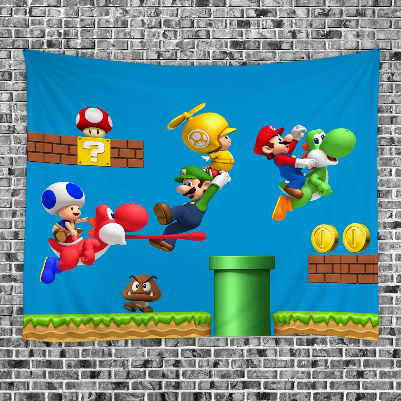 BCNEW Super Mario Tapestry Wall Hanging - Polyester Fabric Wall Decor for  Bedroom (GT31W, 70\