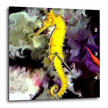 3dRose DPP_956_3 Sea Horse Wall Clock, 15 by 15-Inch