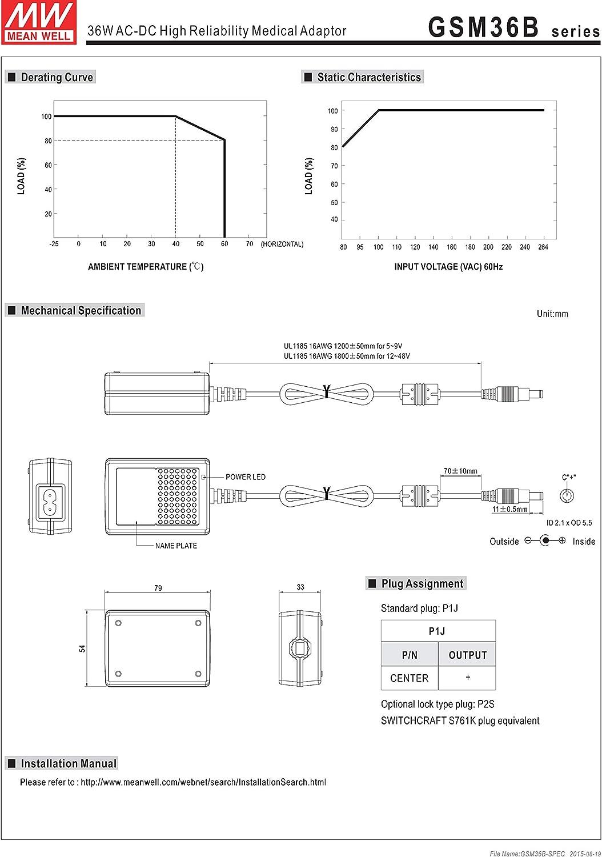 Mean Well GSM36E18-P1J Alimentatore a spina tensione fissa 18 V//DC 2000 mA 36 W