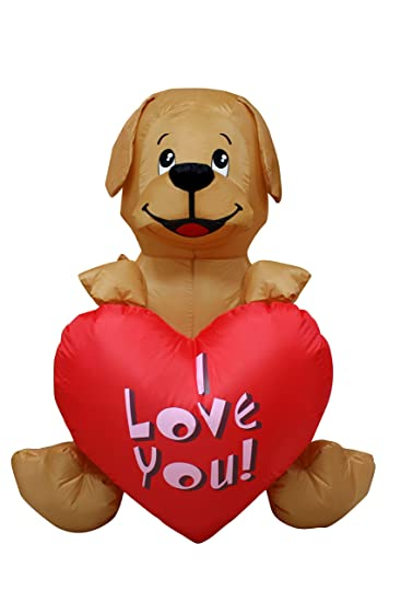 a1cb7b18c7198 4 Ft Inflatable Valentine Day Puppy Dog Lover Wedding Anniversary Party  Light Decoration with Sweet Heart Brown
