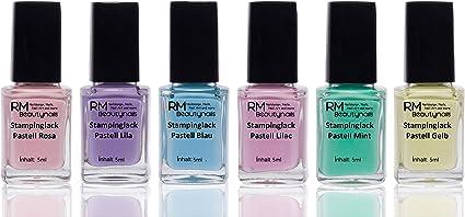 Esmalte de uñas para estampado, pack Pastel, 6 botellas de 4 ml ...
