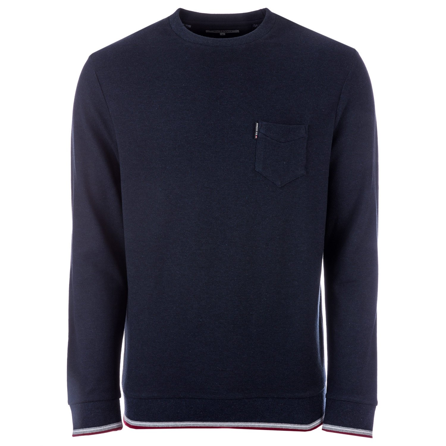 Ben Sherman Mens Tipped Pique Crew Sweat in Navy- Ribbed Cuffs, Hem Collar- Crew