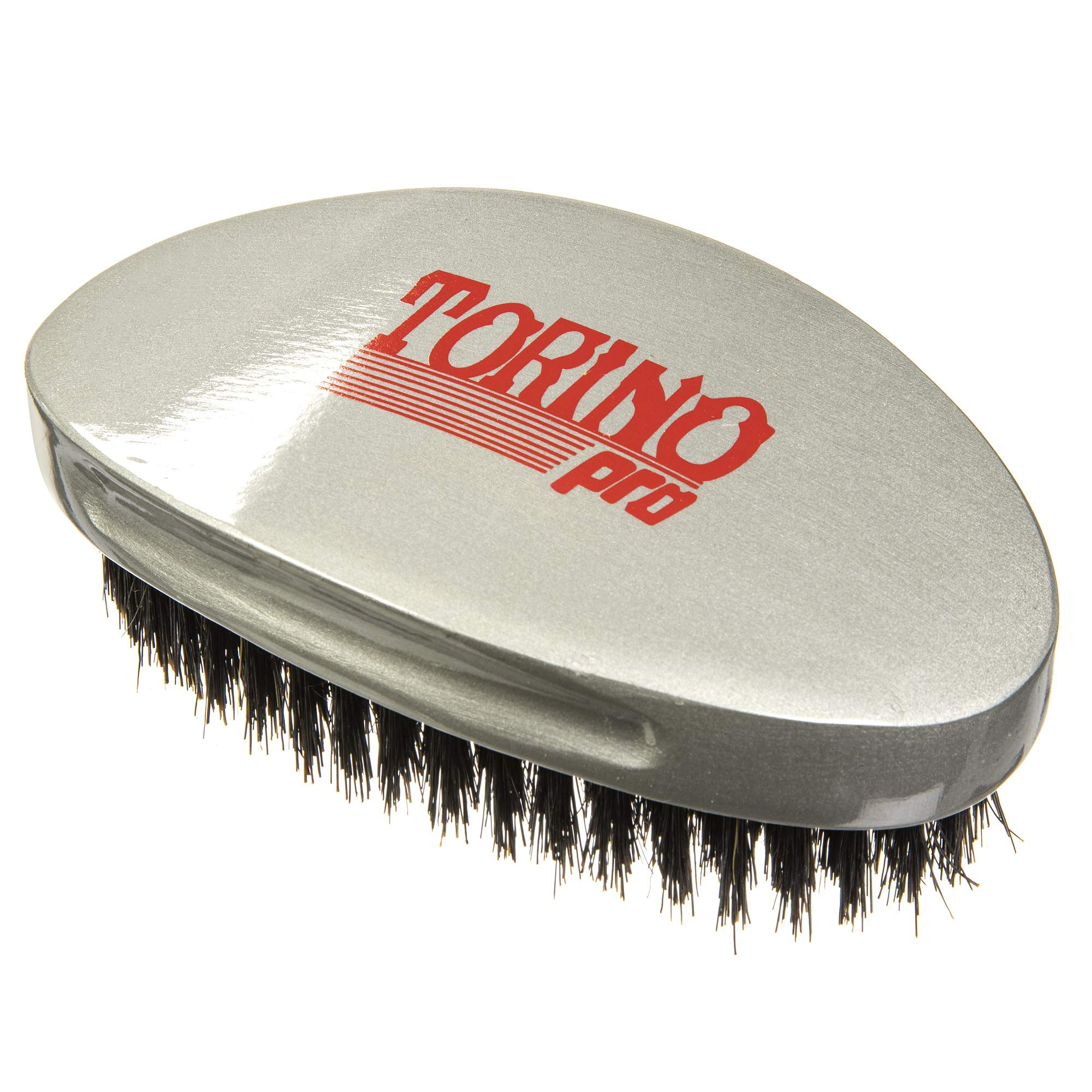 Torino Pro Medium Wave Brush #530 By Brush King - Curve Palm Wave Brush - Made with 100% Boar Bristles -True Texture Medium - All Purpose 360 Waves Curved Brush