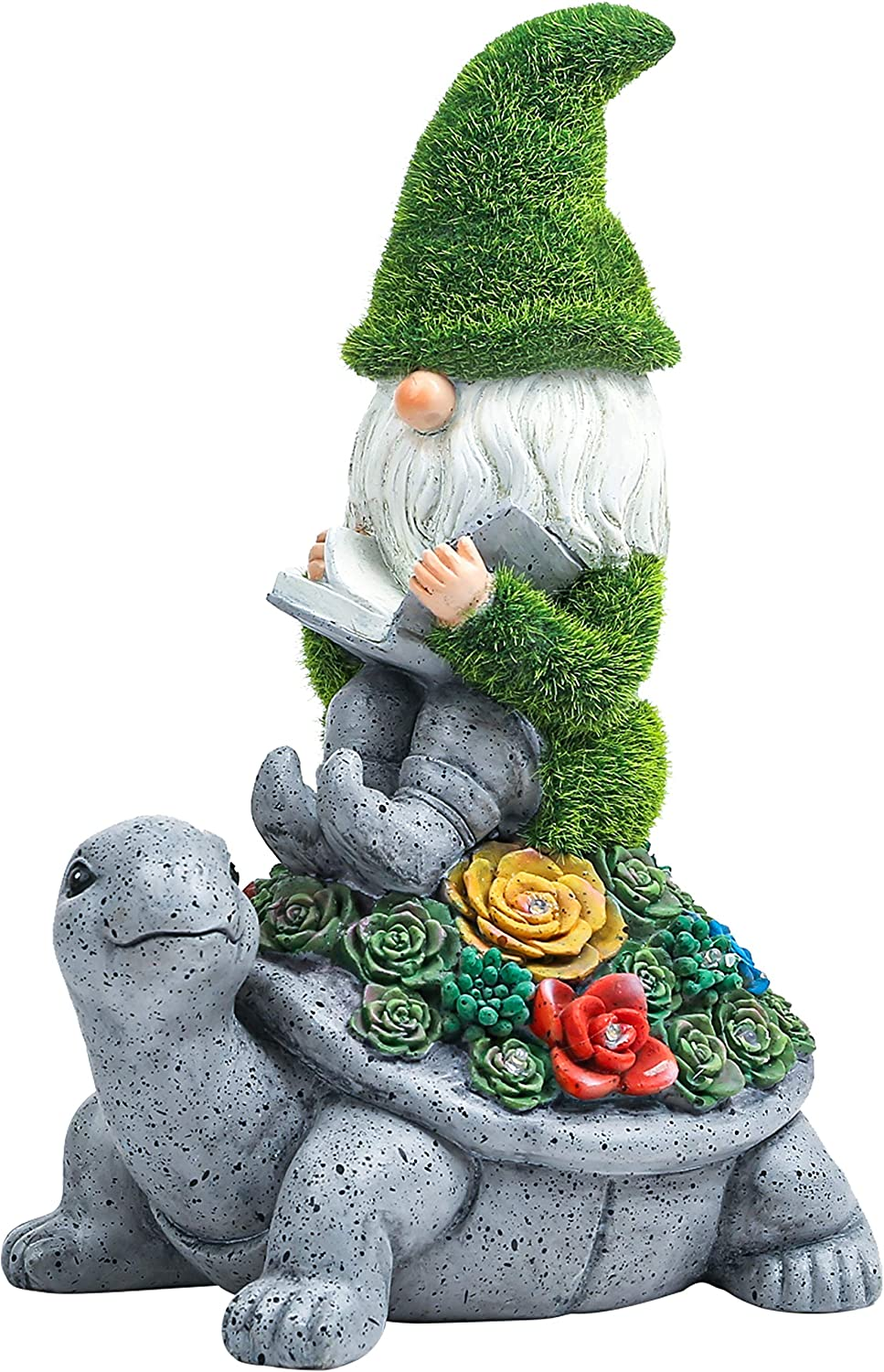 Flocked Garden Statue Gnome Cute - Large Outdoor Gnome Statue Sculptures with Solar Lights, Resin Gnome Figurine Sitting on Turtle Reading Book for Home Patio Yard Lawn Porch Decorations