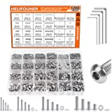 HELIFOUNER 1280 Pieces M2 M3 M4 M5 304 Stainless Steel Button Head Socket Cap Metric Screws Bolts Washers Nuts Hardware Assor