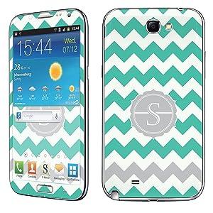 Samsung [Galaxy Note 2] Phone Skin - [SkinGuardz] Full Body Scratch Proof Vinyl Decal Sticker with [WallPaper] - [Mint Chevron S Monogram] for Samsung Galaxy [Note 2]