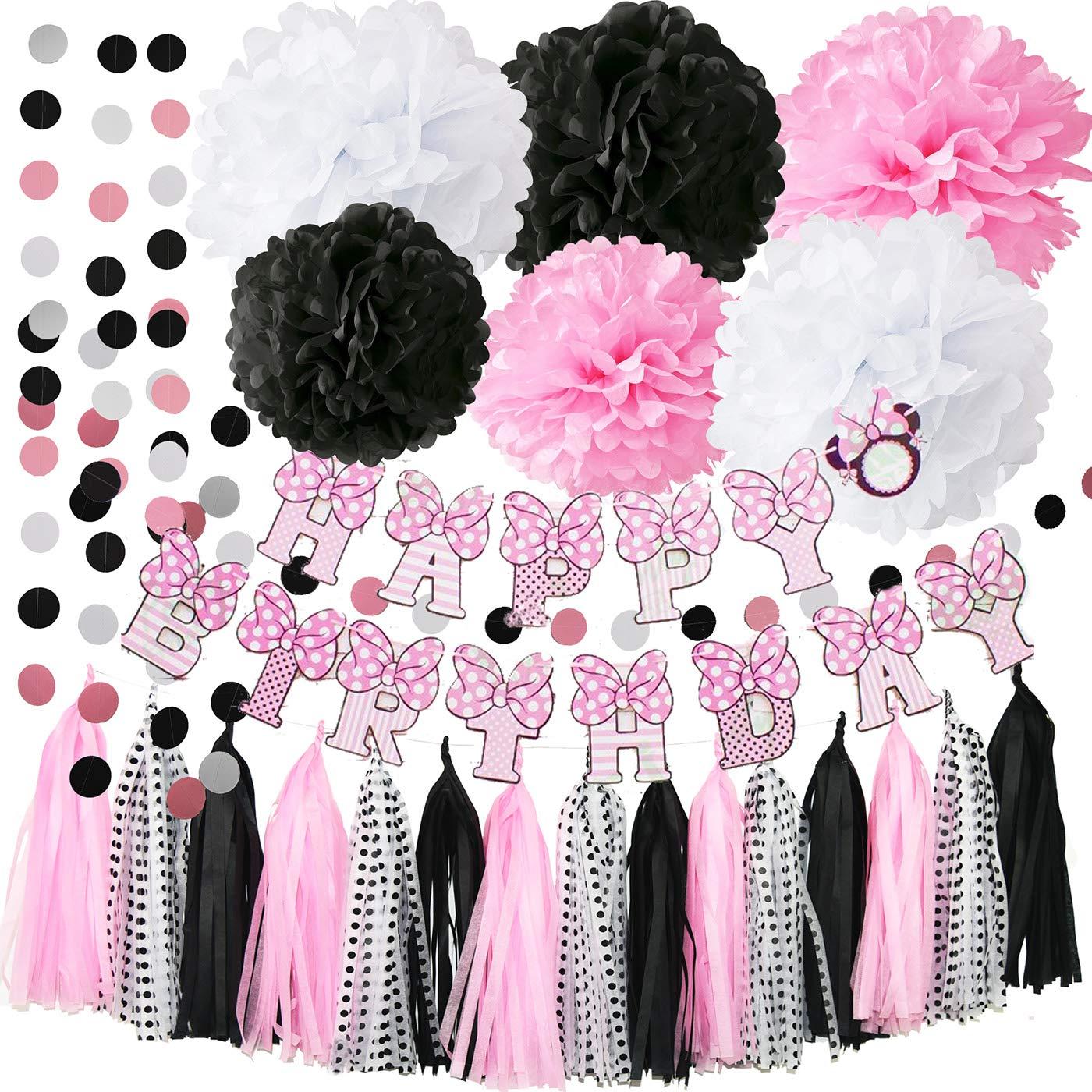 Minnie garland polka dot garland nursery Minnie tassel garland,mouse birthday,Minnie party supplies,first birthday baby shower garland