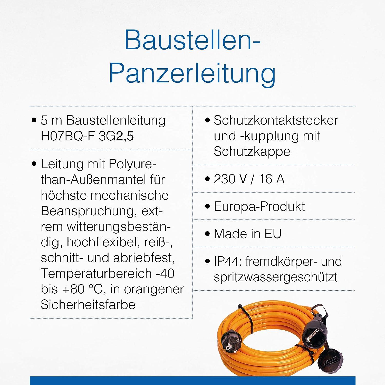 Cable alargador el/éctrico para construcci/ón color naranja AS Schwabe 59205 5 m, H07BQ-F 3G2,5, IP44