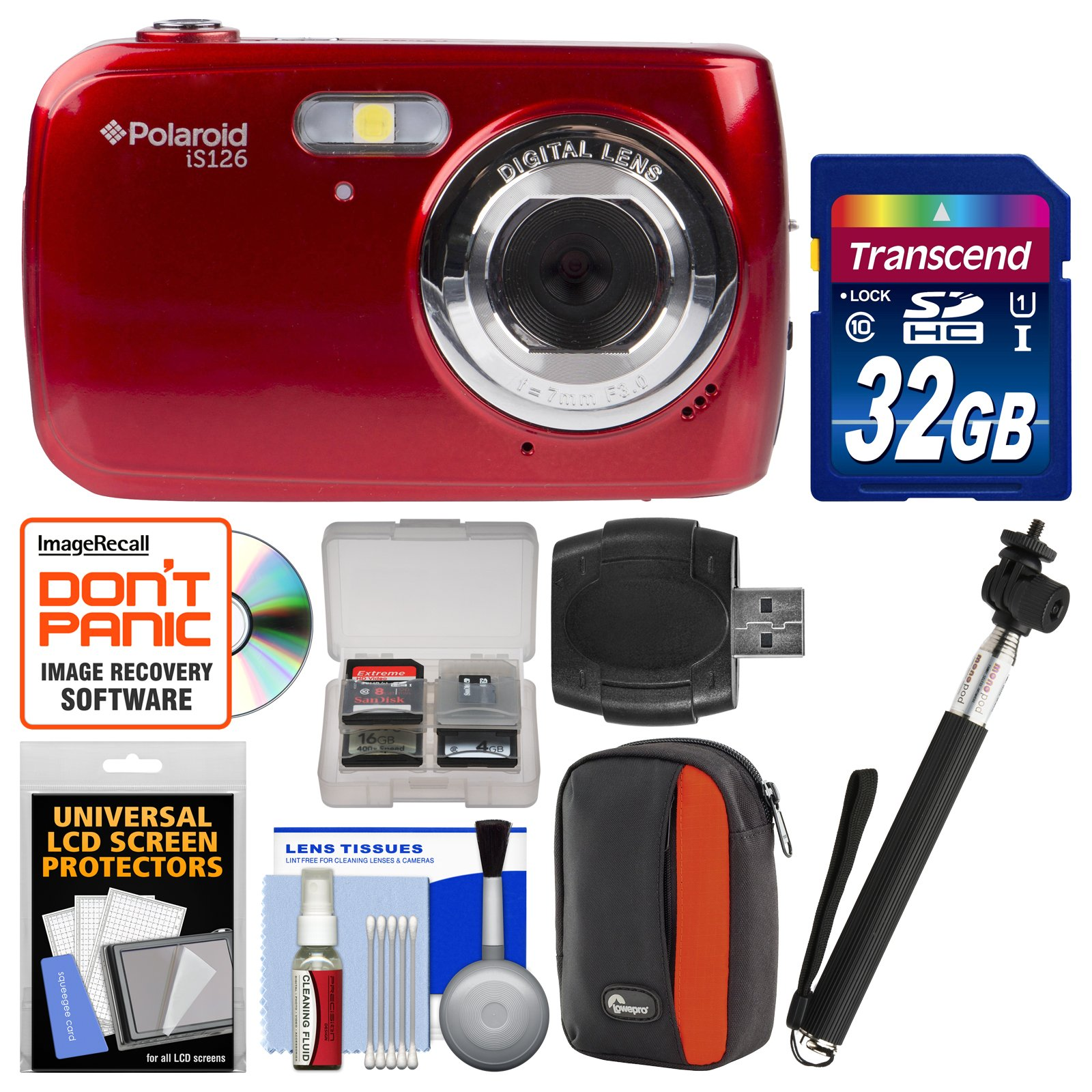 Polaroid iS126 16.1MP Digital Camera (Red) with 32GB Card + Case + Selfie Stick + Kit