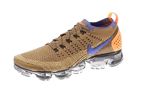 new product c0ec6 b0840 Nike Men s Air Vapormax Flyknit 2 Fitness Shoes, Multicolour (Golden Beige Racer  Blue