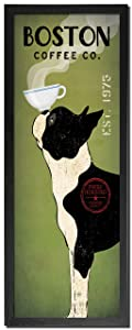 Picture Peddler Popular Green and Black Boston Terrier Coffee Co Panel by Ryan Fowler; One 8x18 Black Framed Print