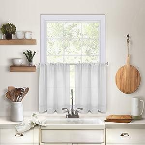 Elrene Home Fashions Pintuck Kitchen Window Tier Set of 2, 30