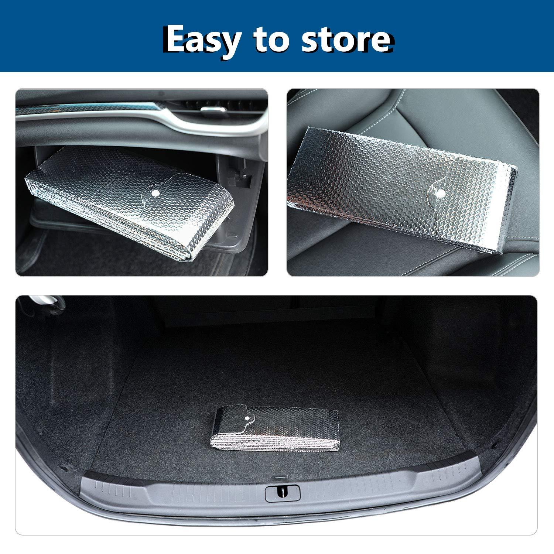 protecci/ón contra rayos UV antiescarcha Ymysfit apta para la mayor/ía de los coches 130 * 70cm plata plegable Cubierta para parabrisas de coche