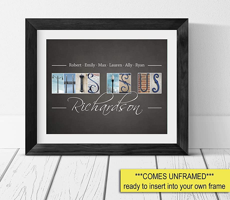 UNFRAMED Personalized Family Name sign This is Us Home Decor sign This Is Us Family Name Sign with First and Last names