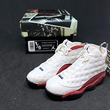 109f7d9056f Image Unavailable. Image not available for. Color: Pair Air Jordan XIII 13  Retro Cherry Red White OG Sneakers Shoes 3D Keychain ...