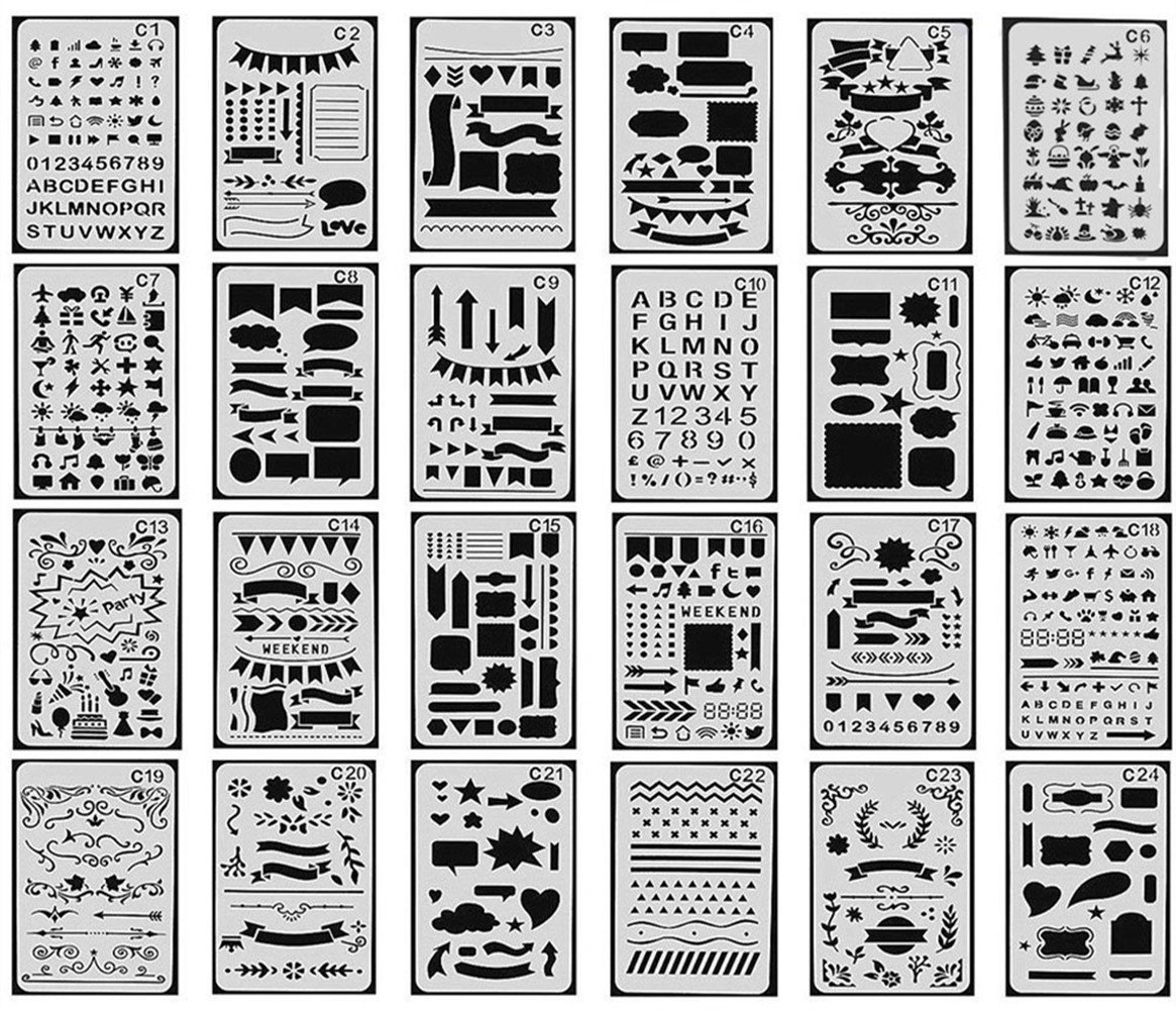 24 pcs Bullet Journal Stencil, Taotree DIY Drawing Template Stencil Set for Planner/Leuchtturm & Moleskine A5 Notebooks (24 pcs Bullet Journal Stencil) 4336894072