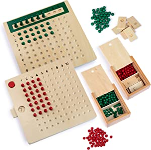 REVVIT Montessori Multiplication and Division Boards , Wooden Math Learning Materials Game for Kids.