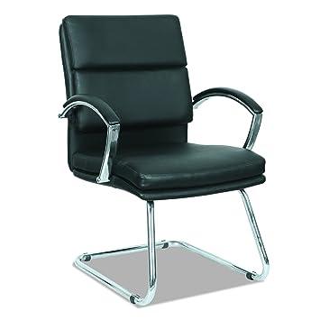 guest chair. alera nr4319 neratoli series slim profile guest chair, black soft leather/chrome frame chair