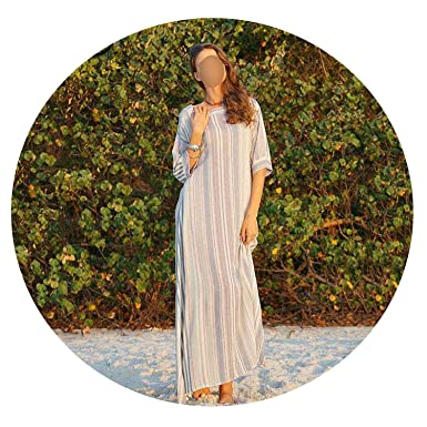 917f915976d Image Unavailable. Image not available for. Color  floral hoop Women Summer  Boho Striped Long Dress 2019 Female Loose Vacation ...
