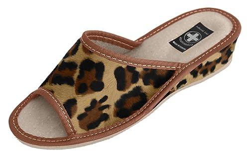Natural Line - Zapatillas de estar por casa de Piel para mujer: Amazon.es: Zapatos y complementos
