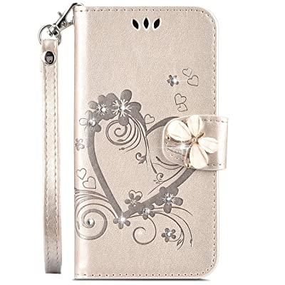 IKASEFU Galaxy S9 Case,Shiny butterfly Rhinestone Emboss Love shape Floral Pu Leather Diamond Bling Wallet Strap Case with Card Holder Magnetic Flip Cover Compatible with Samsung Galaxy S9,gold: Musical Instruments