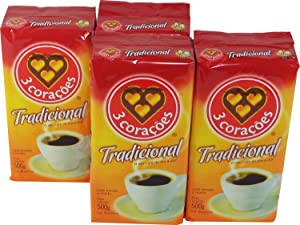 3 Coracoes Tradicional Brazilian Ground Coffee Vacuum Packed 500 grams (Pack of 4)