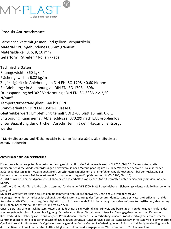 Schwarz Terrassenpads My Plast 3 mm 90 x 90 mm Gummigranulat 50 St/ück Terrassenbau 1er Pack