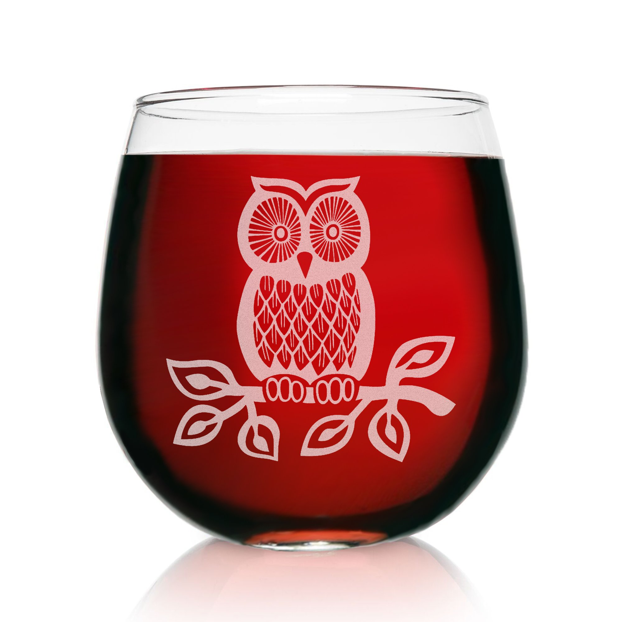 Engraved Stemless Wine Glasses-16.75 Ounce Capacity-Owl Design- 2 Piece Set- 16.75 Ounce Capacity- Elegant Glass-Multi-Perfect Gift for any Occasion- USA Made By: On The Rox (Owl-Engraved)