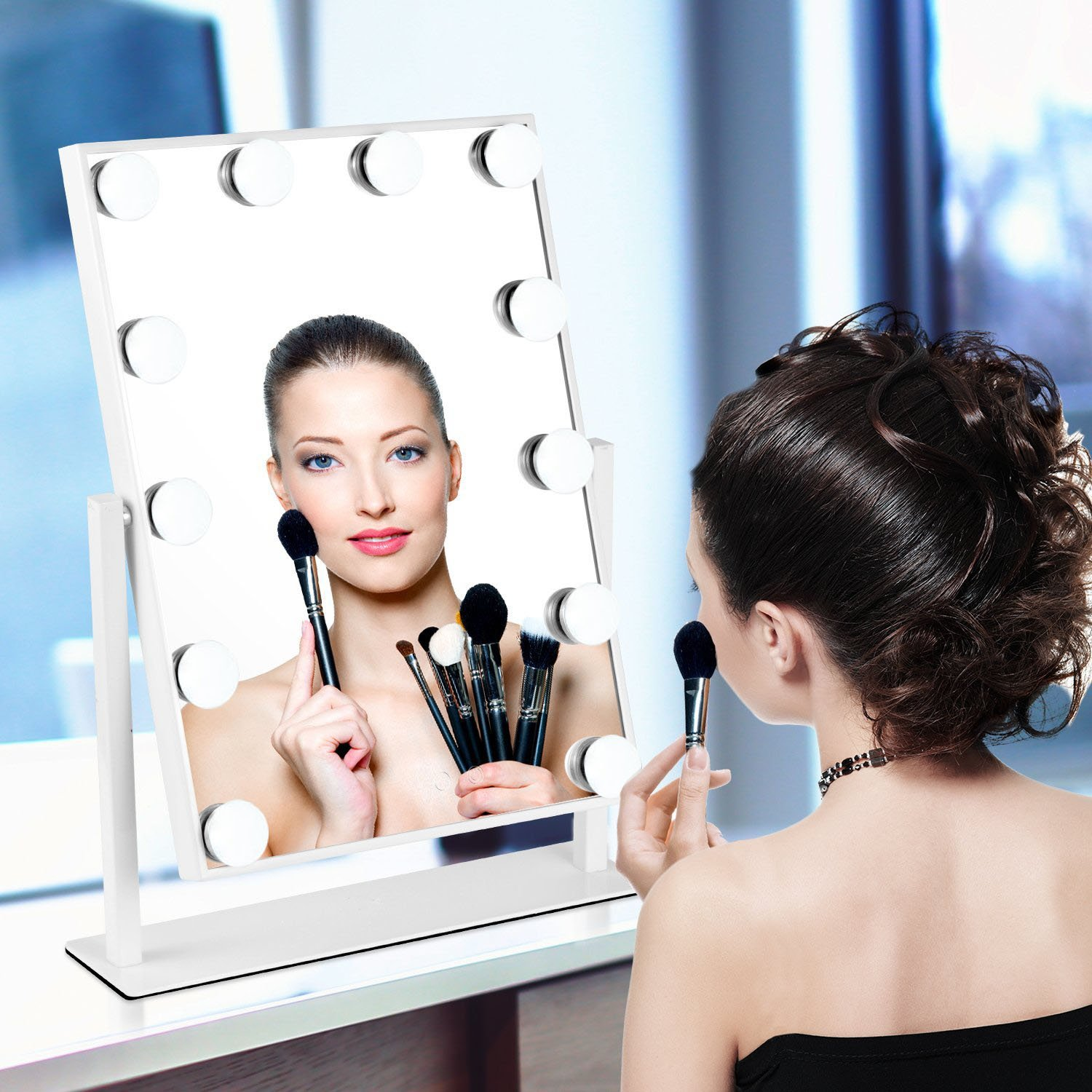 MRah Hollywood Makeup Vanity Mirror - White Lighted Makeup Mirror Tabletops Lighted Mirror, LED Illuminated Cosmetic Mirror with LED Dimmable Bulbs