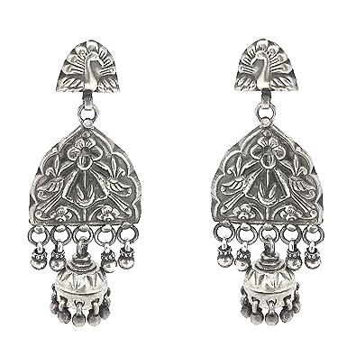 8b1d500fc 92.5 Sterling Silver Fashion Stylish Oxidized look Fancy/Traditional Party  wear/Casual Wear Earrings