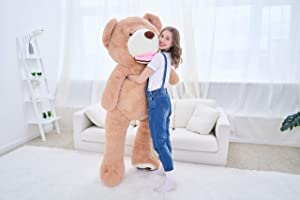 IKASA Giant Teddy Bear Plush Toy Stuffed Animals 6.5 Foot (Brown, 78 inches) (Color: Brown, Tamaño: 78 inches)
